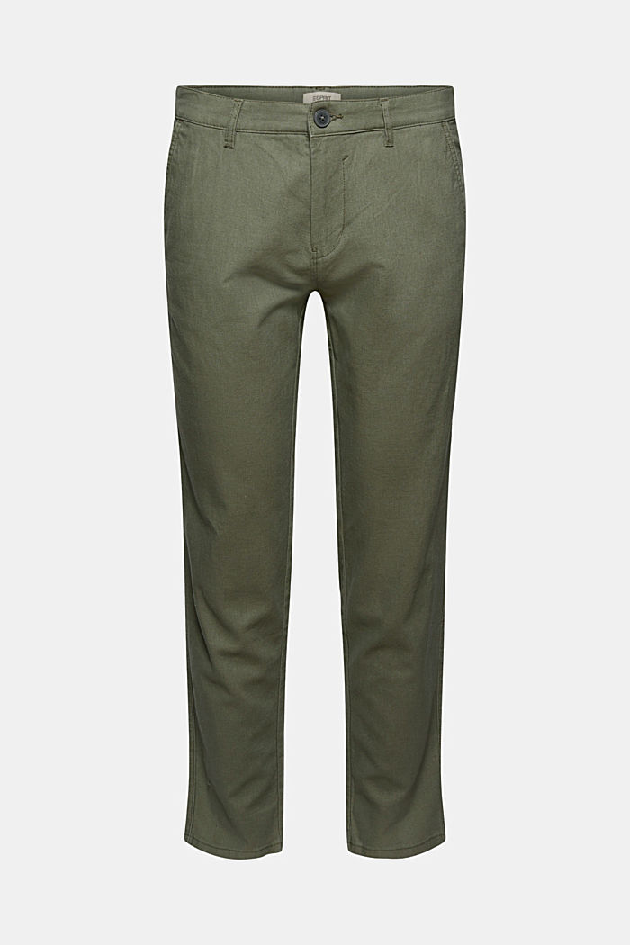 Leinenmix: Luftige Chino, DUSTY GREEN, detail image number 5