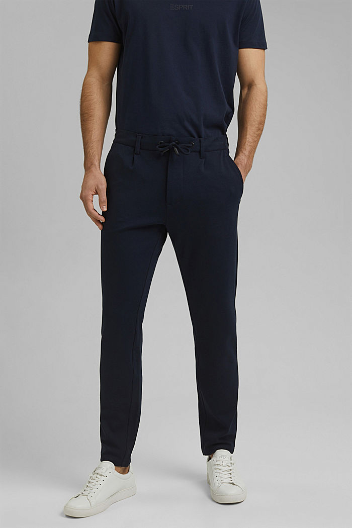 Chino tracksuit bottoms with LENZING™ ECOVERO™, NAVY, detail image number 0