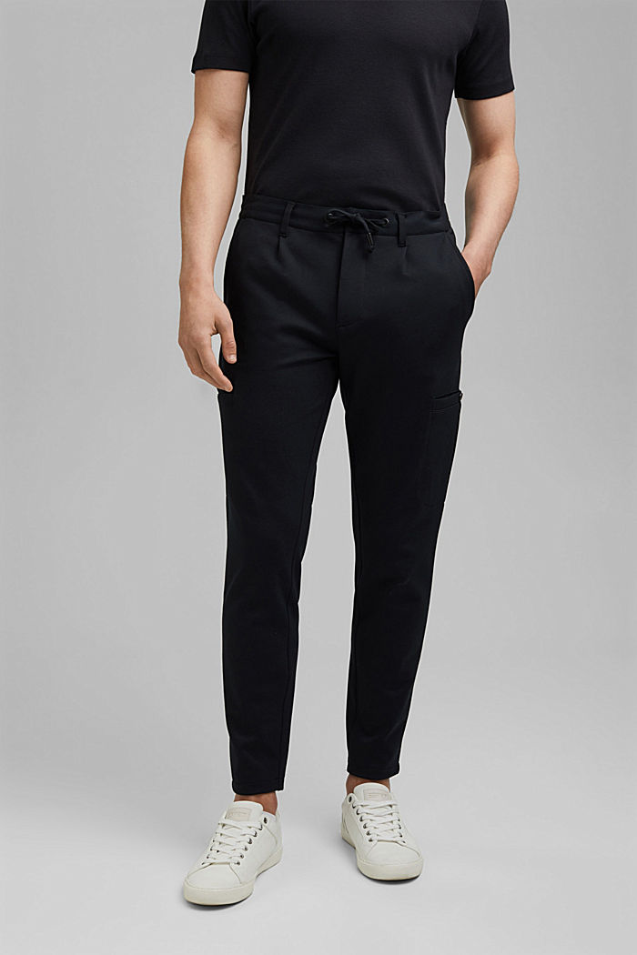 Cargo tracksuit bottoms with LENZING™ ECOVERO™, BLACK, detail image number 0