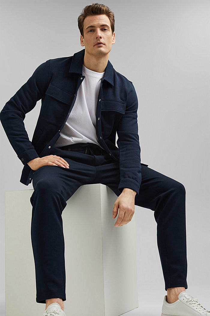 Pantalones cargo de estilo deportivo con LENZING™ ECOVERO™, NAVY, detail image number 7