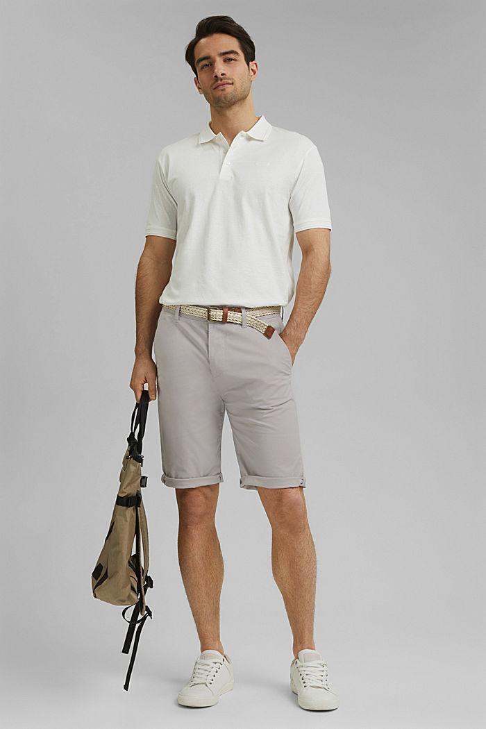Shorts mit Gürtel, Organic Cotton, LIGHT GREY, detail image number 1