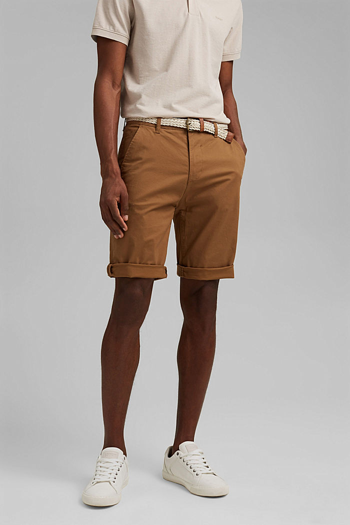 Shorts mit Gürtel, Organic Cotton, CAMEL, detail image number 0