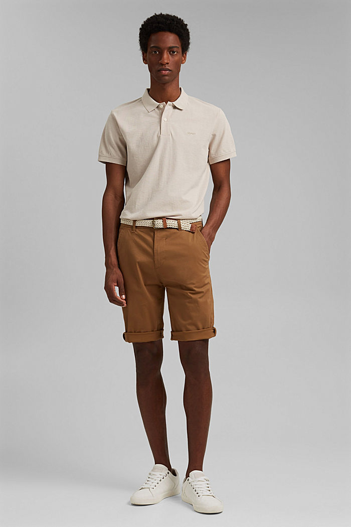 Shorts mit Gürtel, Organic Cotton, CAMEL, detail image number 1