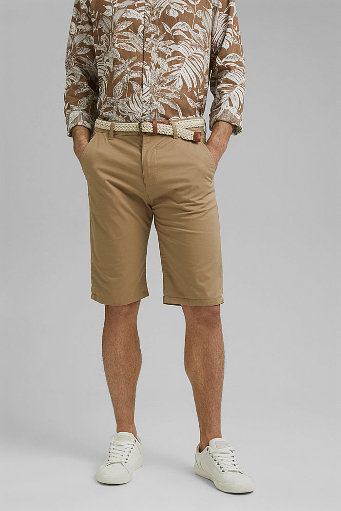 Organic cotton Shorts + belt, BEIGE, detail image number 0