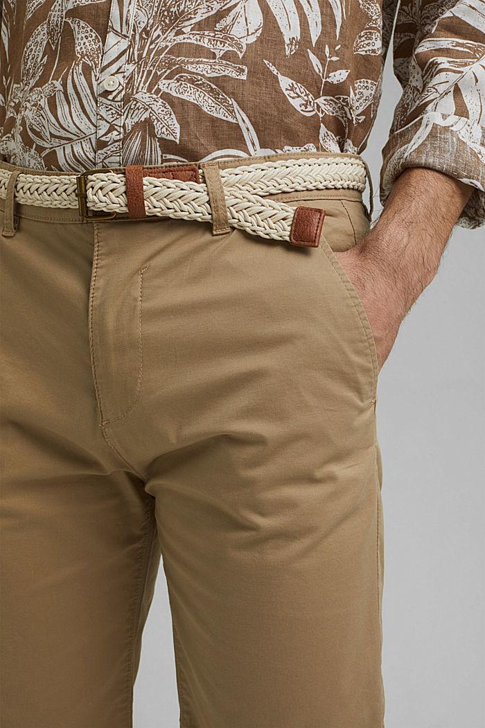 Szorty z paskiem, bawełna organiczna, BEIGE, detail image number 2