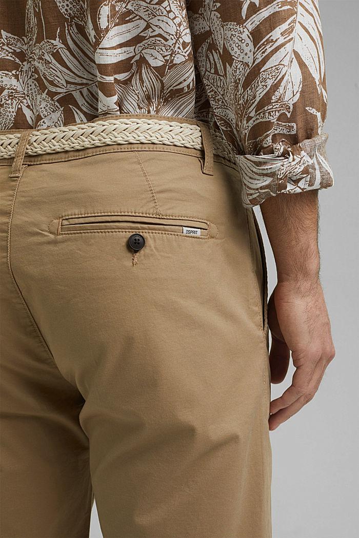 Szorty z paskiem, bawełna organiczna, BEIGE, detail image number 5