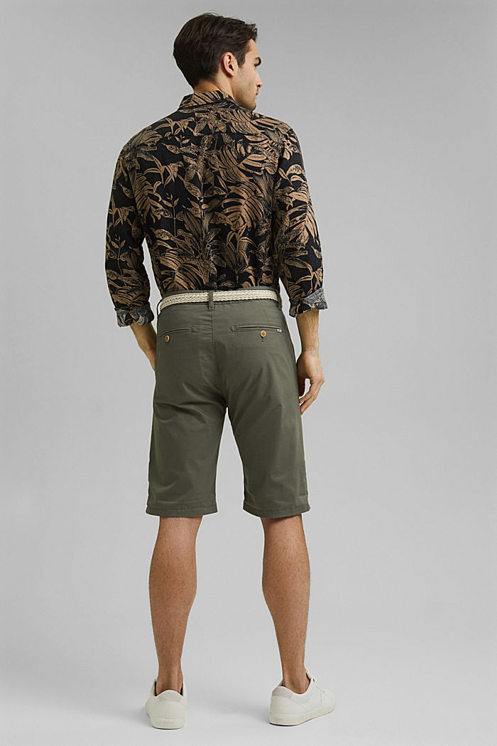 Organic cotton Shorts + belt, DUSTY GREEN, detail image number 3