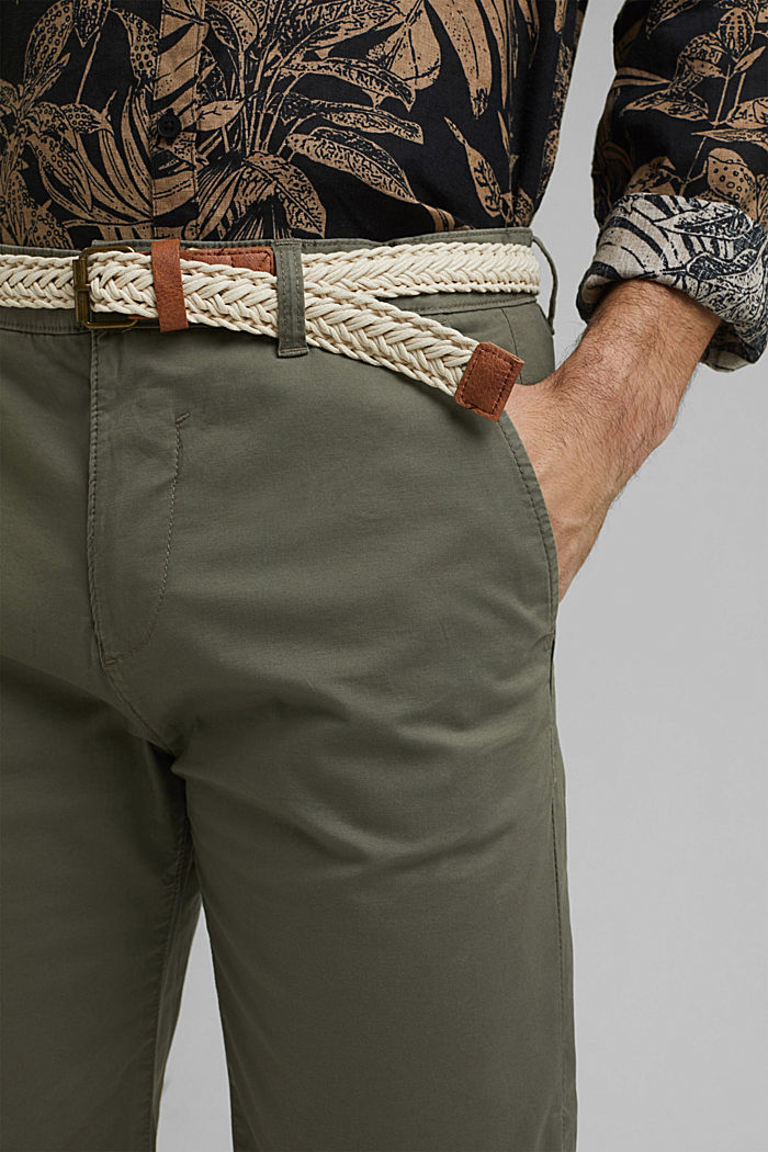 Organic cotton Shorts + belt, DUSTY GREEN, detail image number 2