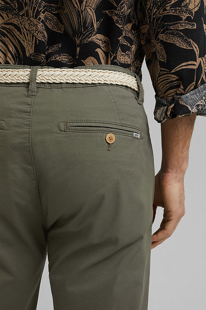 Organic cotton Shorts + belt, DUSTY GREEN, detail image number 5