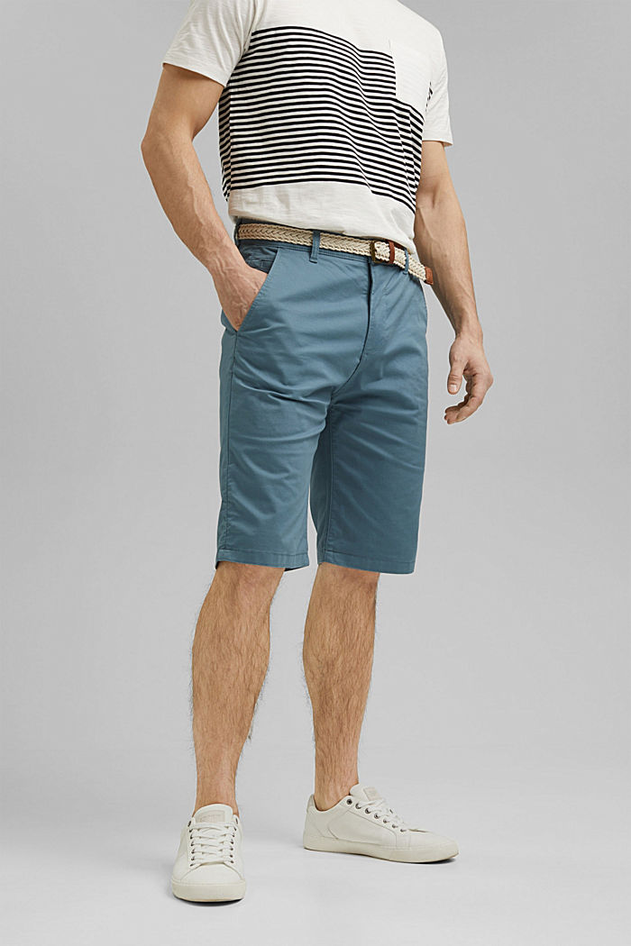 Organic cotton Shorts + belt, GREY BLUE, detail image number 0