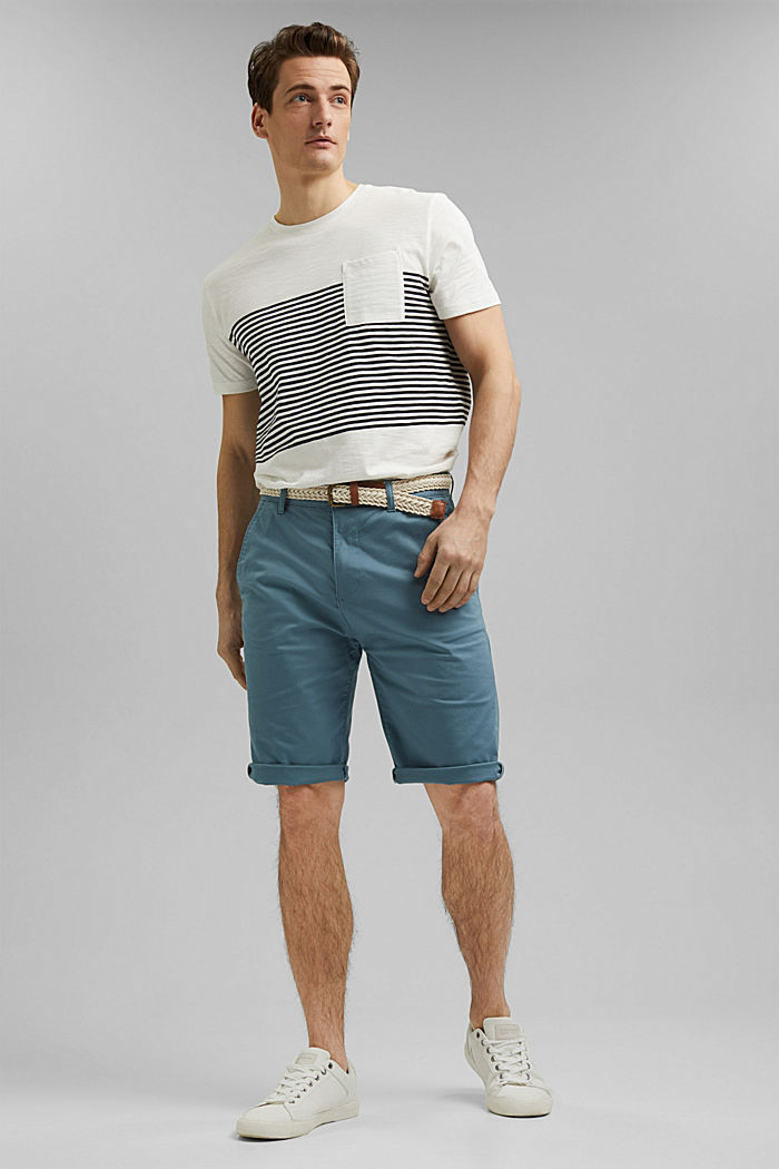 Organic cotton Shorts + belt, GREY BLUE, detail image number 1