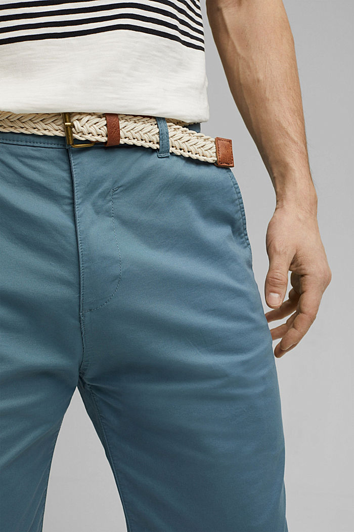 Organic cotton Shorts + belt, GREY BLUE, detail image number 2