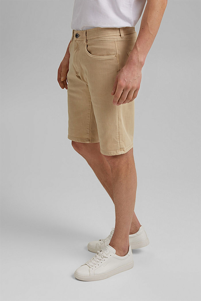 Shorts with organic cotton in a washed look, BEIGE, detail image number 0