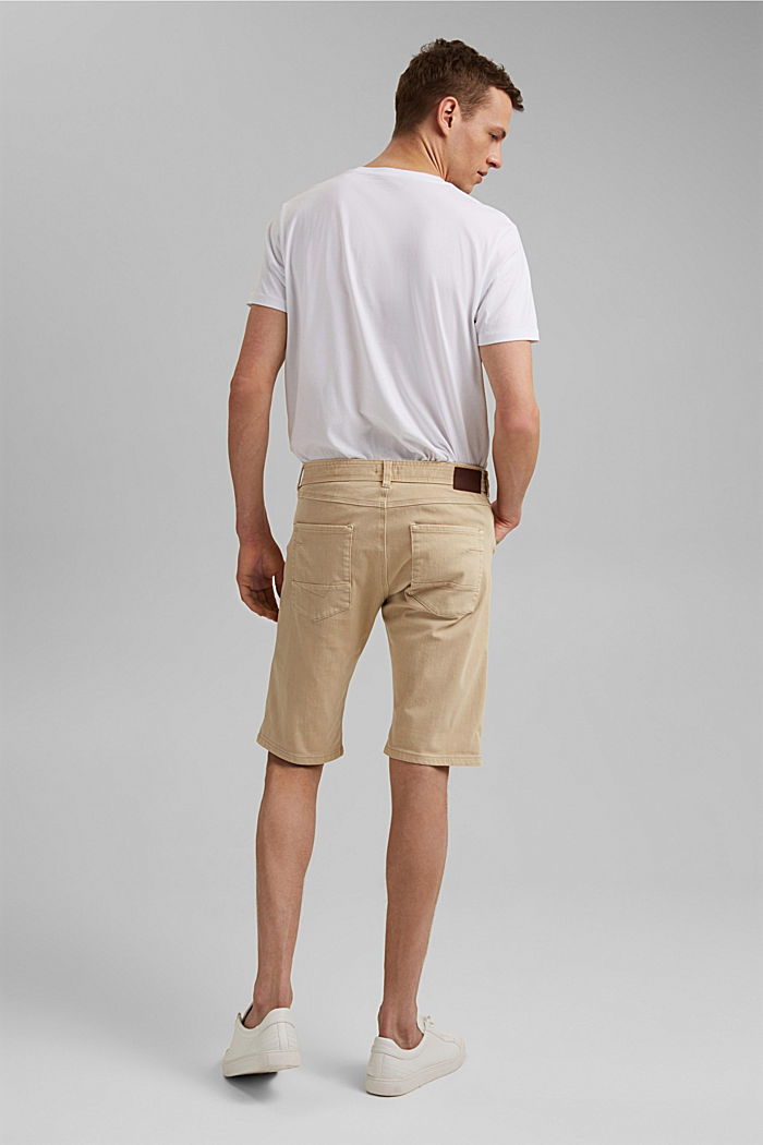 Shorts with organic cotton in a washed look, BEIGE, detail image number 3