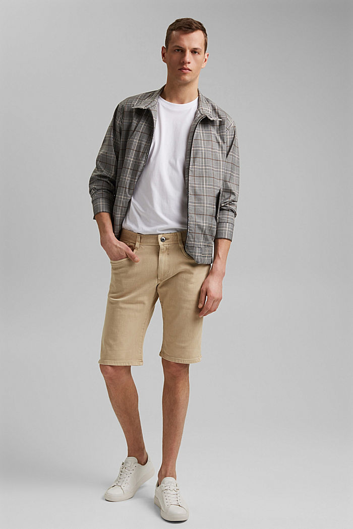 Shorts with organic cotton in a washed look, BEIGE, detail image number 1