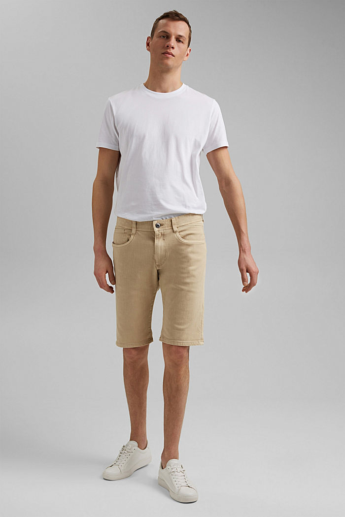 Shorts with organic cotton in a washed look, BEIGE, detail image number 6