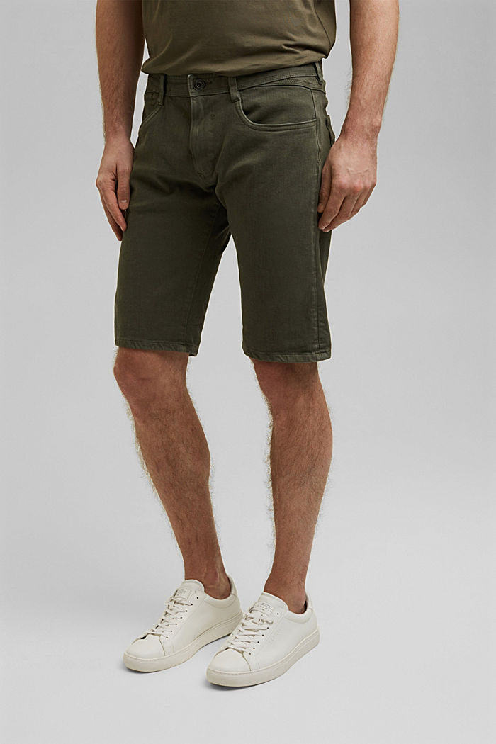 Shorts mit Organic Cotton im Washed-Look, OLIVE, overview