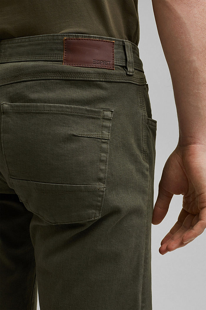 Shorts with organic cotton in a washed look, OLIVE, detail image number 5