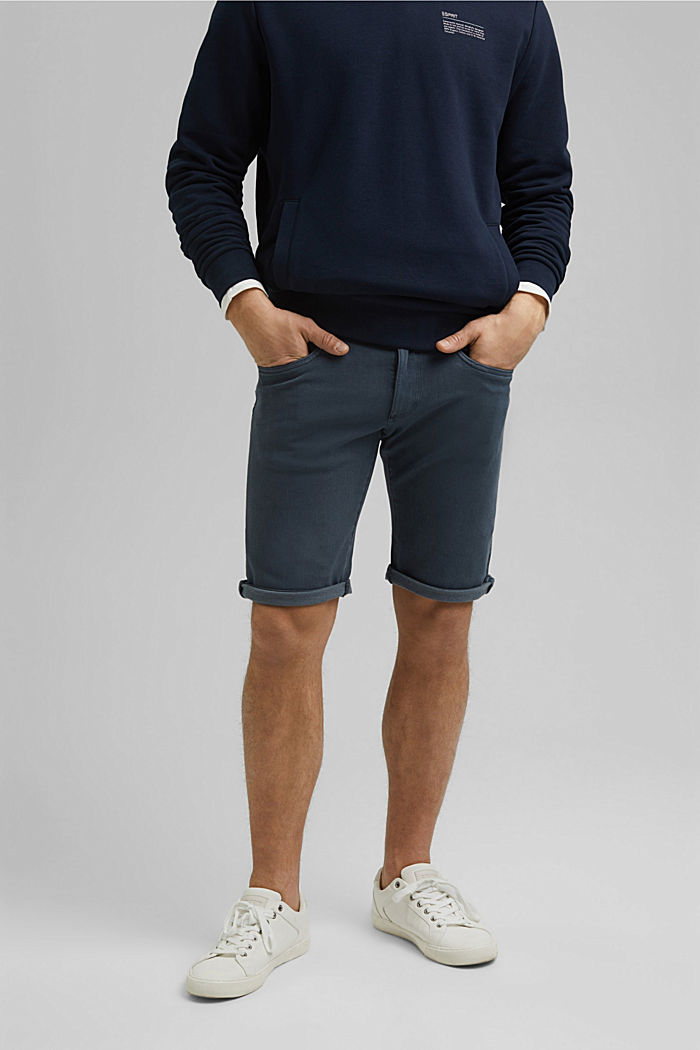 Shorts with organic cotton in a washed look, DARK BLUE, detail image number 0