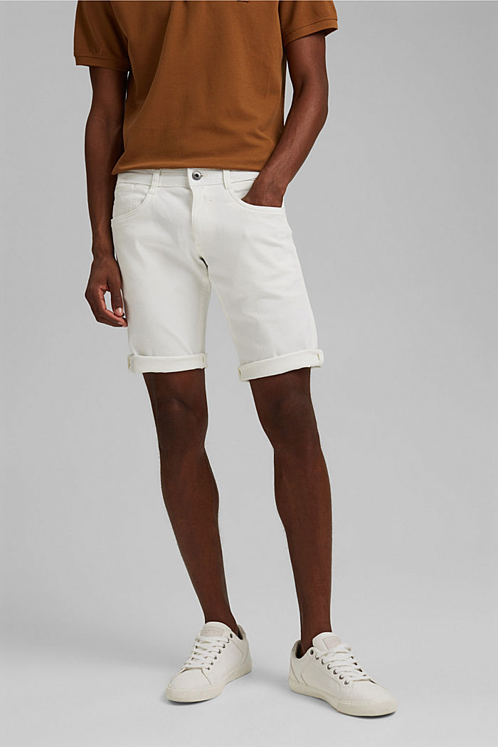 Dynamic denim shorts, organic cotton, OFF WHITE, detail image number 0