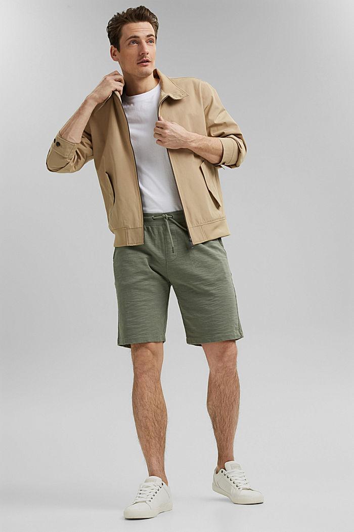 Tracksuit bottom shorts made of 100% organic cotton, LIGHT KHAKI, detail image number 1