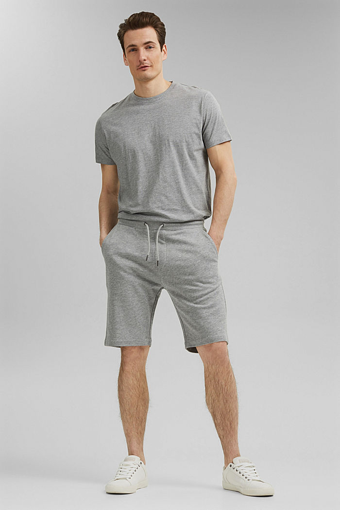 Sweatshirt fabric shorts with organic cotton, MEDIUM GREY, detail image number 1