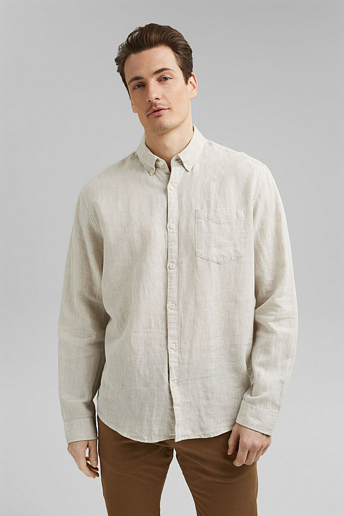 Aus Leinen-Mix: Button-Down-Hemd, LIGHT BEIGE, detail image number 0