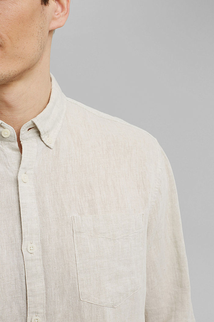 Aus Leinen-Mix: Button-Down-Hemd, LIGHT BEIGE, detail image number 2