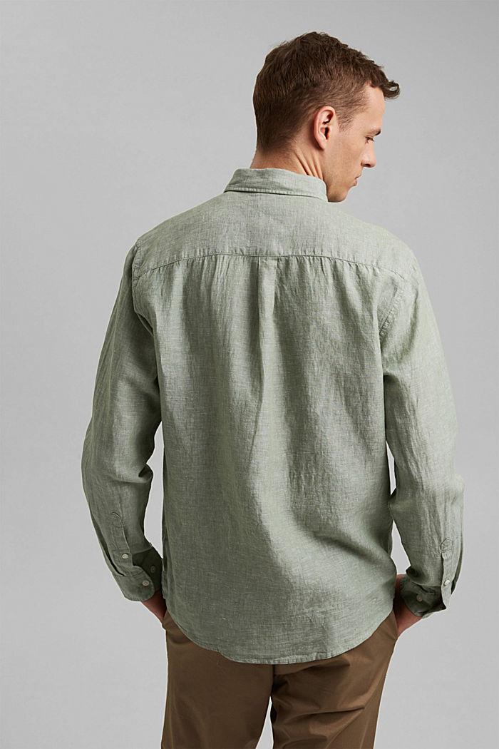 Aus Leinen-Mix: Button-Down-Hemd, LIGHT KHAKI, detail image number 3
