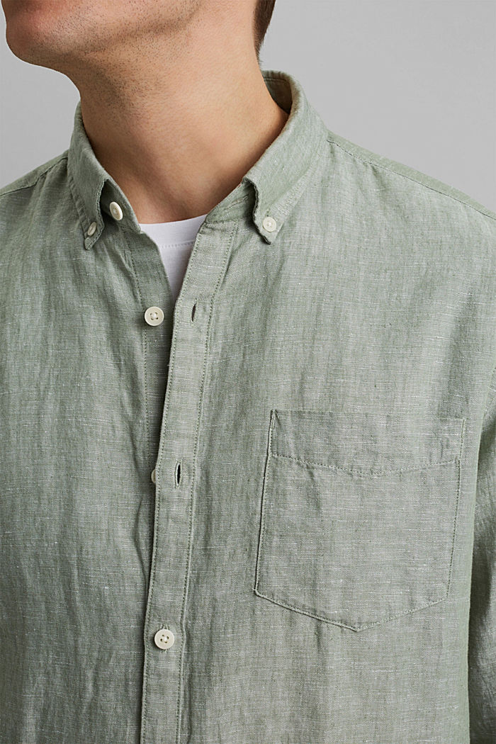 Aus Leinen-Mix: Button-Down-Hemd, LIGHT KHAKI, detail image number 2