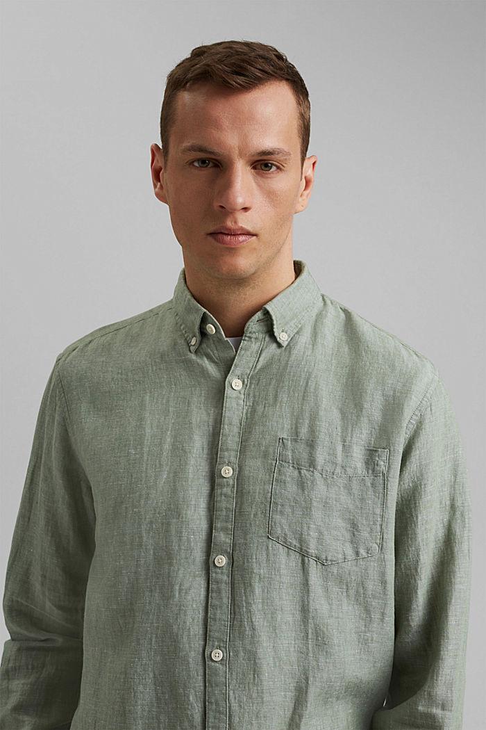 Aus Leinen-Mix: Button-Down-Hemd, LIGHT KHAKI, detail image number 5