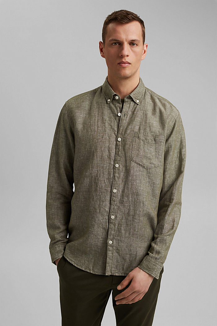 Aus Leinen-Mix: Button-Down-Hemd, DARK KHAKI, detail image number 0