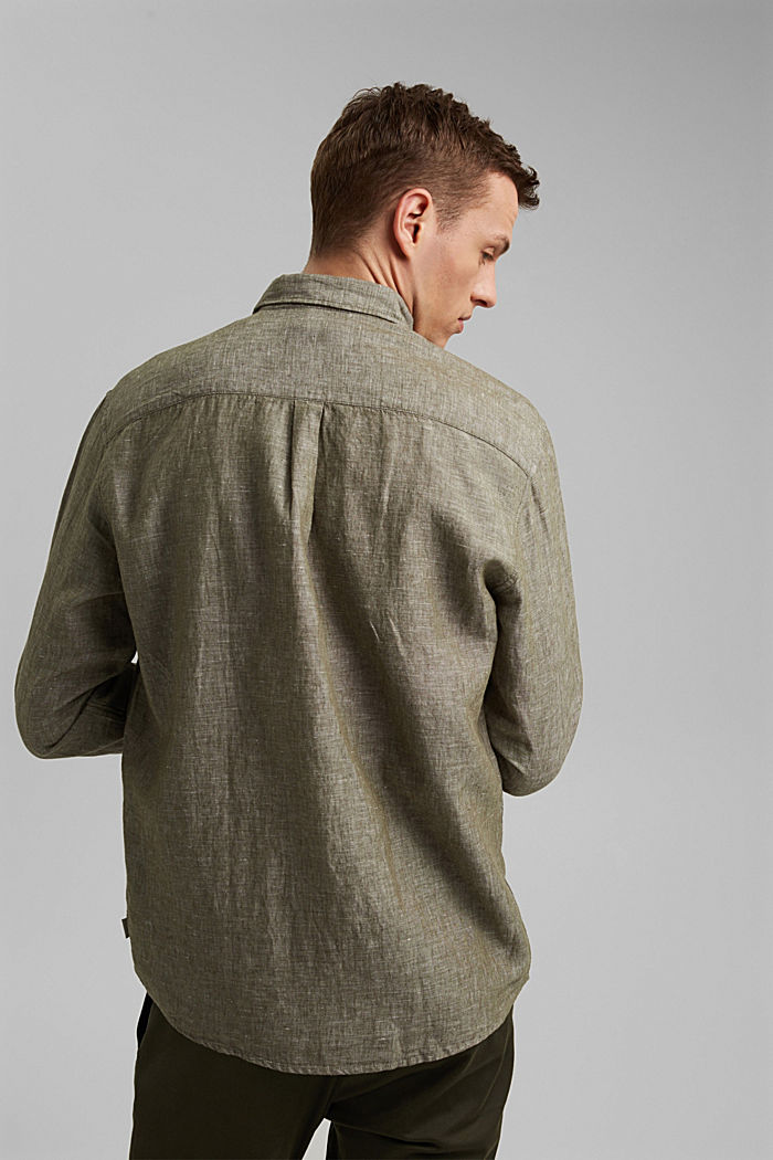 Aus Leinen-Mix: Button-Down-Hemd, DARK KHAKI, detail image number 3