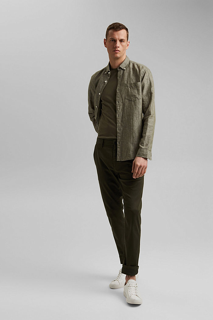 Aus Leinen-Mix: Button-Down-Hemd, DARK KHAKI, detail image number 1