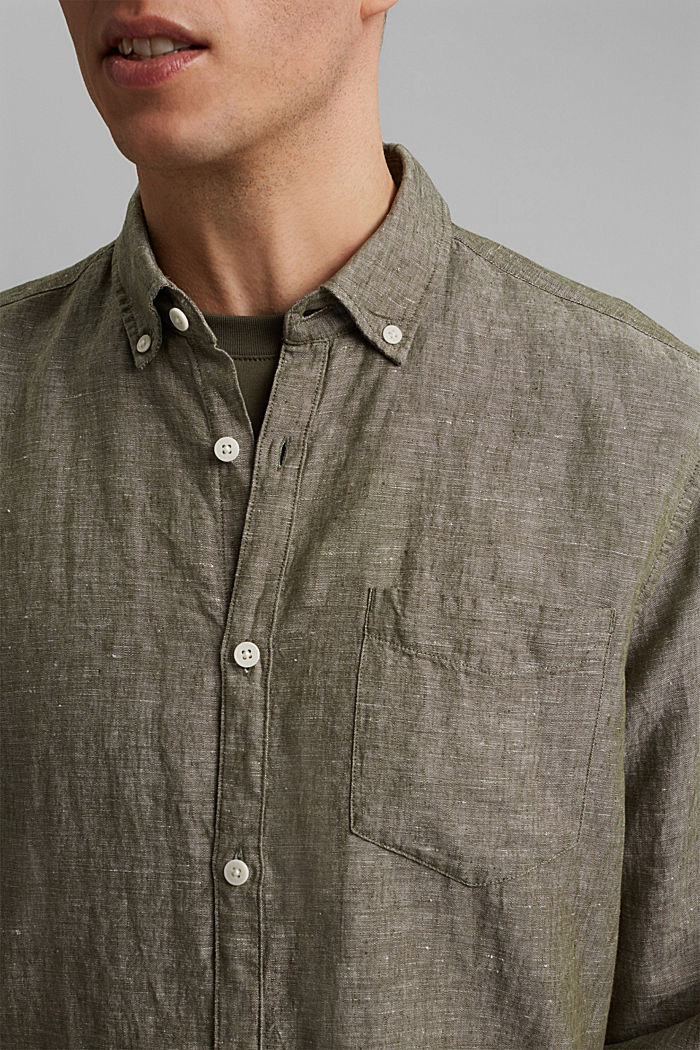 Aus Leinen-Mix: Button-Down-Hemd, DARK KHAKI, detail image number 2