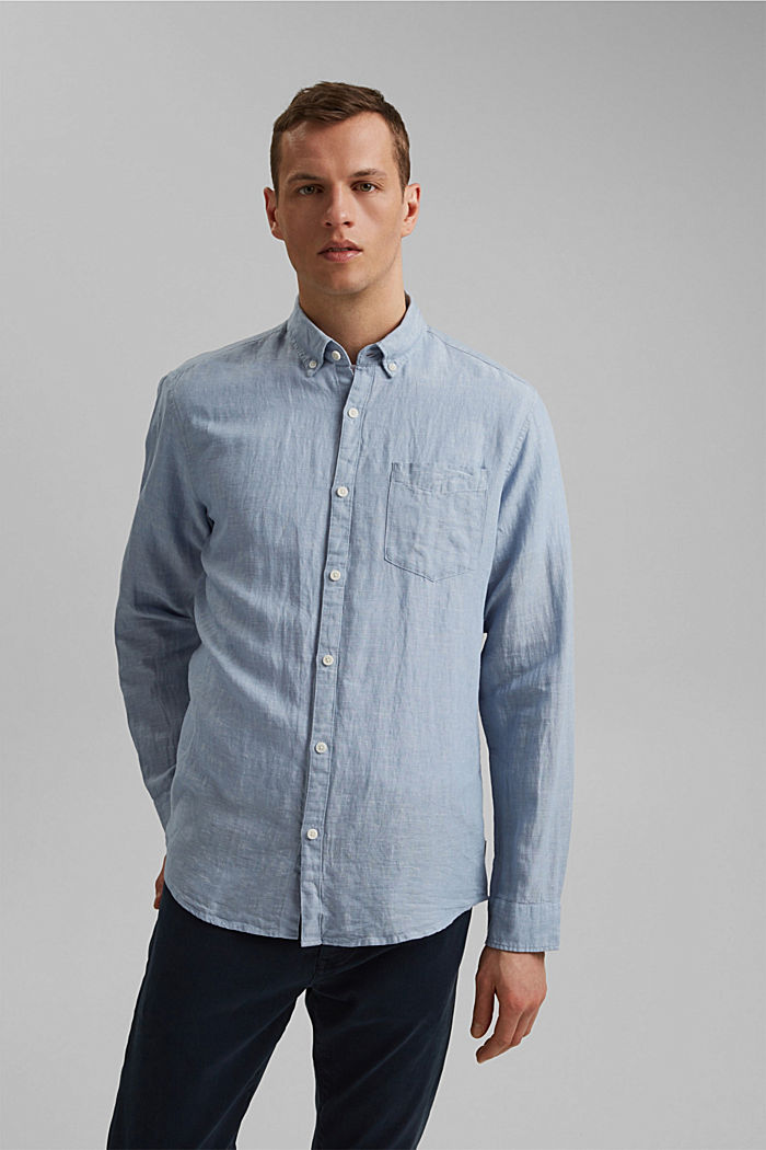 Linen blend: button-down shirt, GREY BLUE, detail image number 0