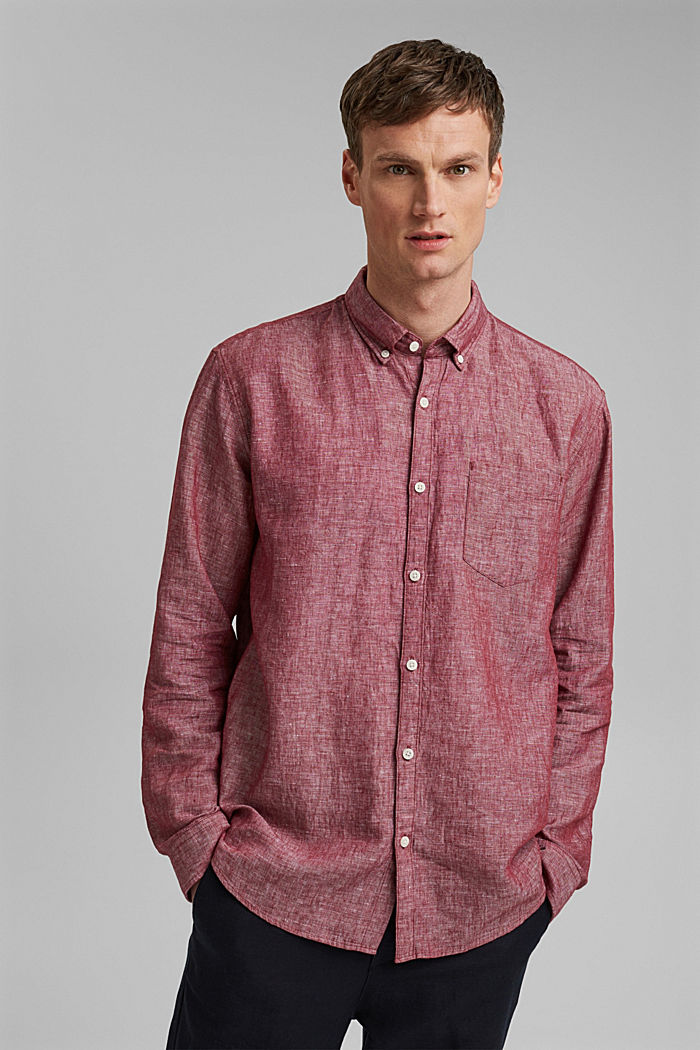 En mezcla de lino: camisa de cuello abotonado, BERRY RED, detail image number 0