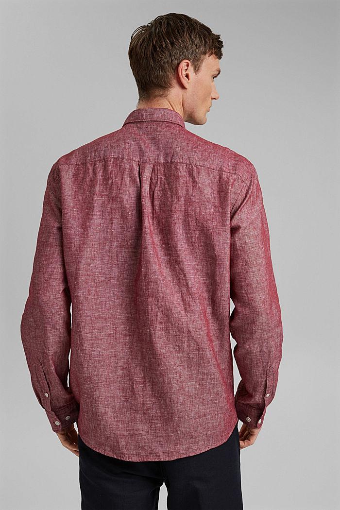 En mezcla de lino: camisa de cuello abotonado, BERRY RED, detail image number 3