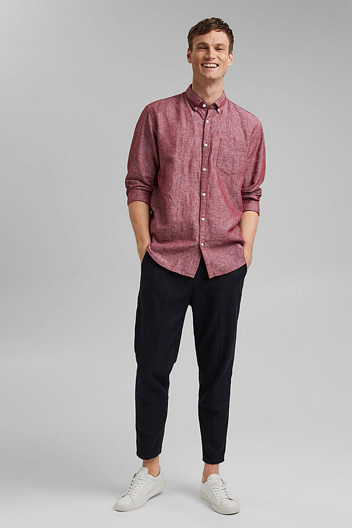 Van een linnenmix: buttondownoverhemd