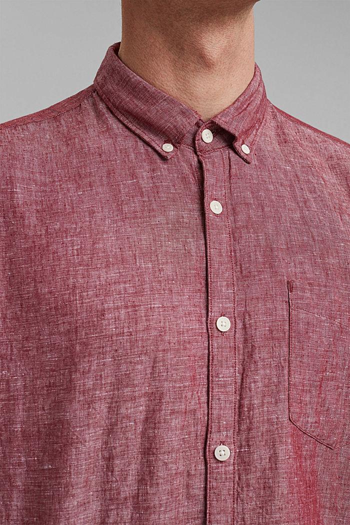 En mezcla de lino: camisa de cuello abotonado, BERRY RED, detail image number 2
