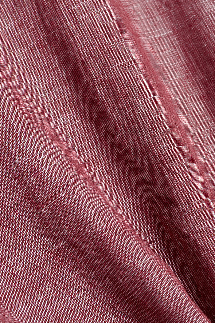 En mezcla de lino: camisa de cuello abotonado, BERRY RED, detail image number 4