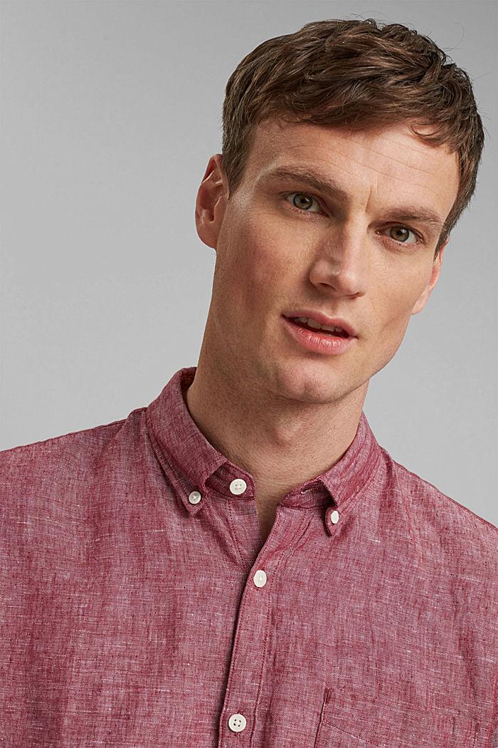 En mezcla de lino: camisa de cuello abotonado, BERRY RED, detail image number 6