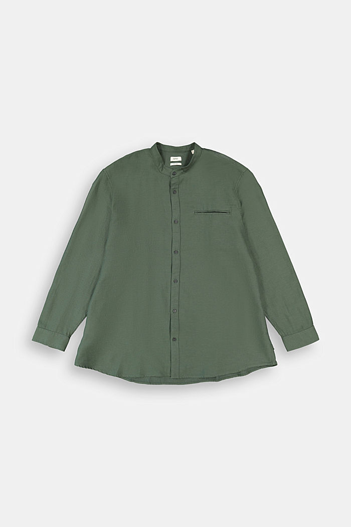 Textured shirt made of 100% organic, DARK KHAKI, detail image number 0