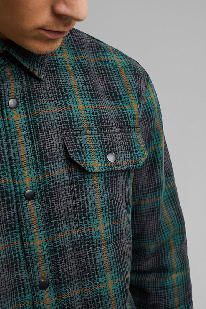 Lightly padded overshirt made of organic cotton, DARK TEAL GREEN, detail image number 2