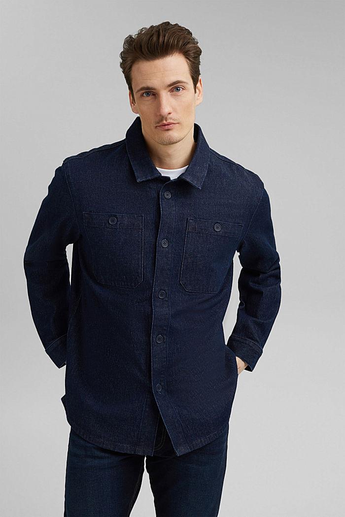 Jeans-Hemd aus robustem Baumwoll-Denim, BLUE DARK WASHED, detail image number 0