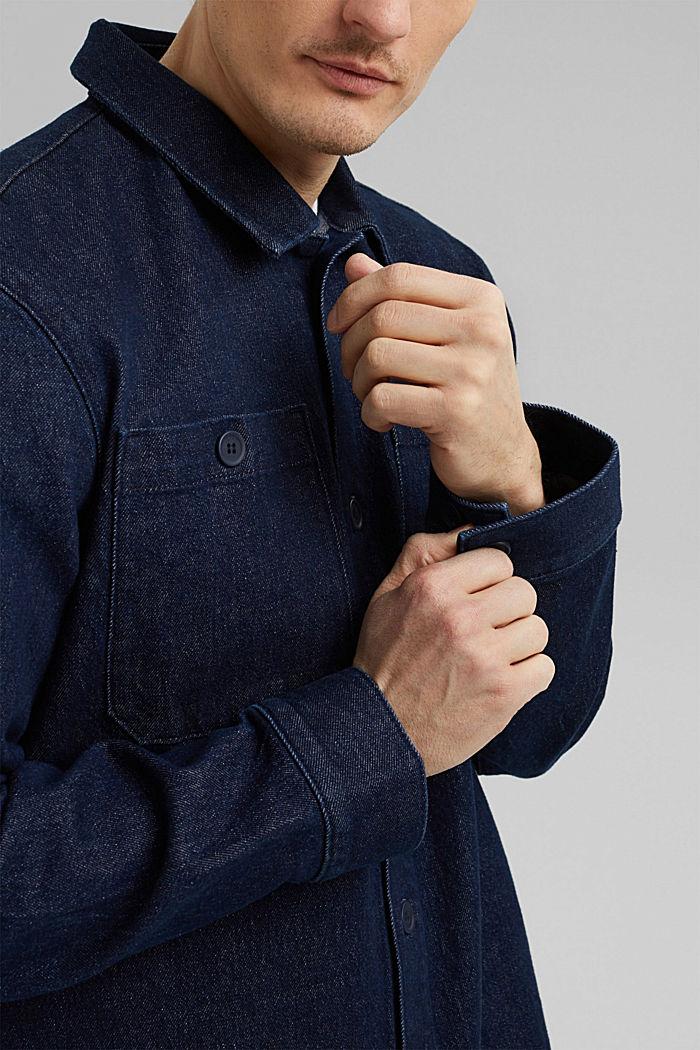 Jeans-Hemd aus robustem Baumwoll-Denim, BLUE DARK WASHED, detail image number 5