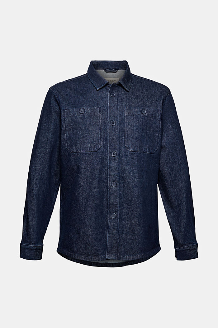 Shirt made of robust cotton denim, BLUE DARK WASHED, overview