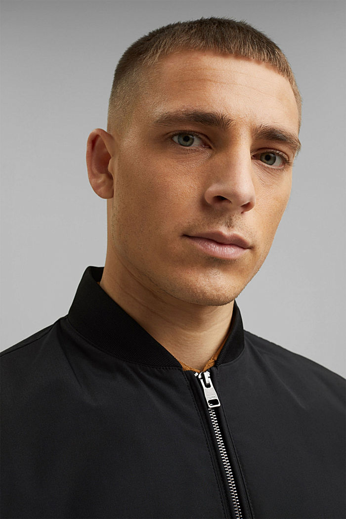Recycled: bomber jacket, BLACK, overview