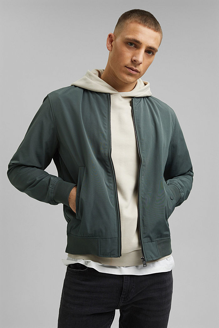 In materiale riciclato: giacca in stile bomber, DARK GREEN, detail image number 0