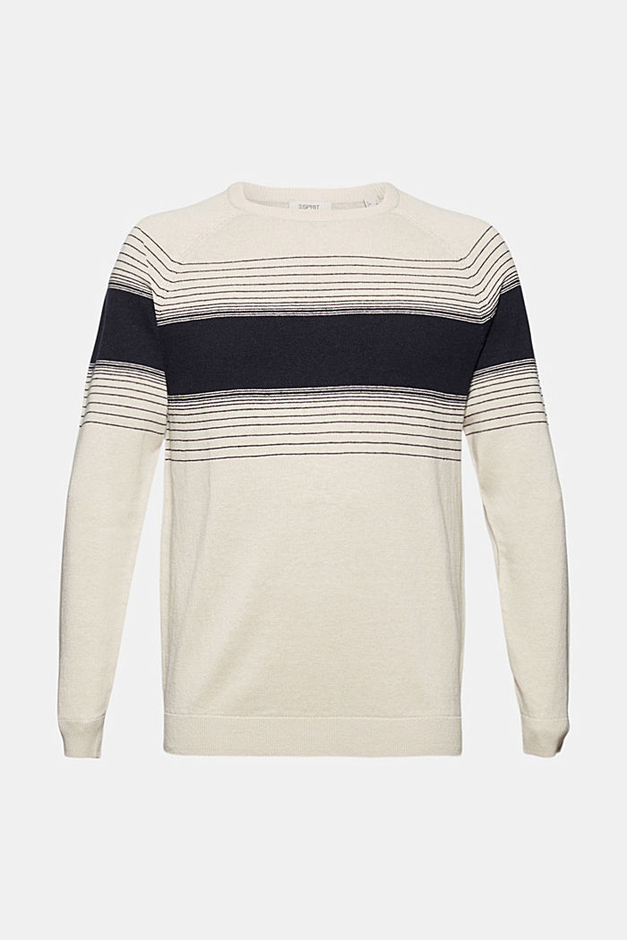 Linen/organic cotton: striped jumper, BEIGE, detail image number 3